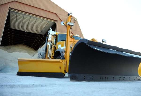 Salt spreader and plows ready at the Department