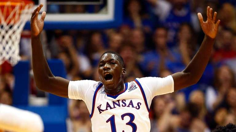 Cheick Diallo #13 of the Kansas Jayhawks reacts