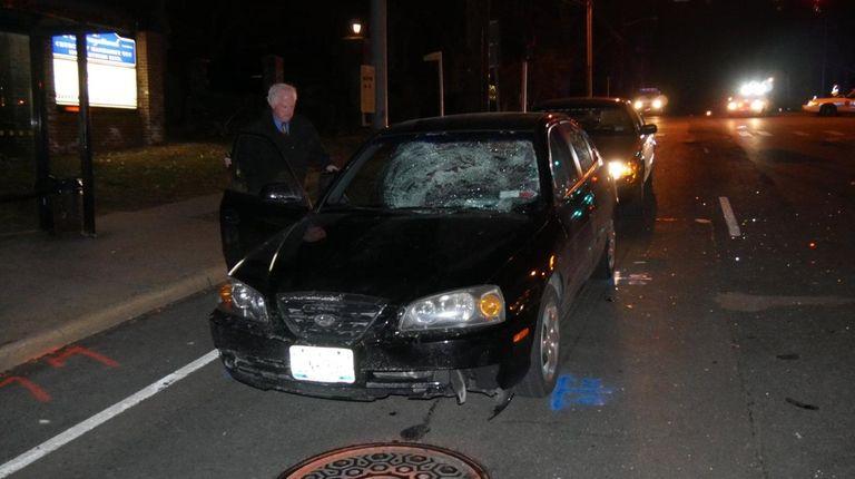 Nassau County police investigate the scene where two