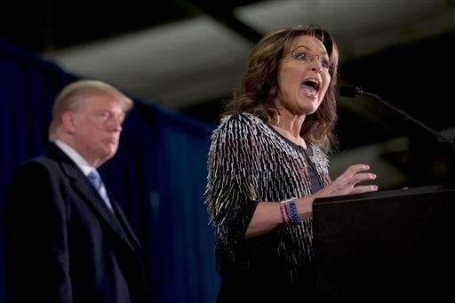 Former Alaska Gov. Sarah Palin, right, endorses Republican