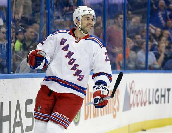 New York Rangers defenseman Dan Boyle reacts after
