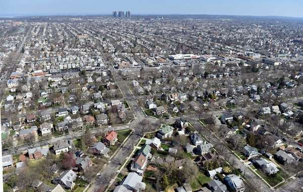 Aerial views of Bellerose in Nassau County, April