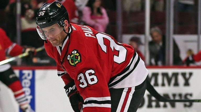 Daniel Paille of the Chicago Blackhawks participates in