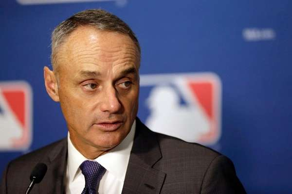 MLB commissioner Rob Manfred speaks during a