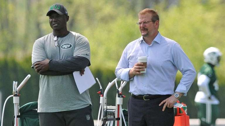 Coach Todd Bowles, left, and general manager Mike