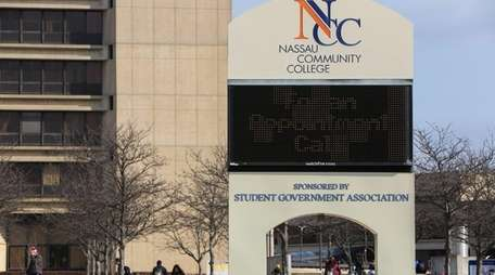 Students on the Nassau Community College campus on