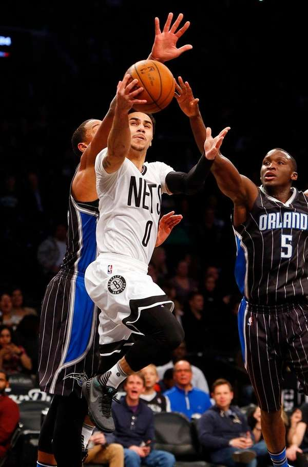Shane Larkin of the Brooklyn Nets goes to