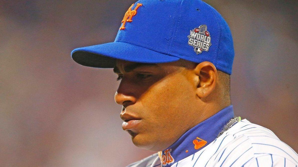New York Mets centerfielder Yoenis Cespedes walks to