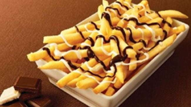 McDonald's Japanese chocolate-topped fries, called McChoco Potatoes.