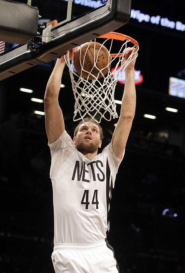 Brooklyn Nets guard Bojan Bogdanovic (44) finishes the