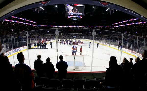 A view during the national anthem before a