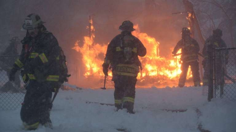 Firefighters from the East Farmingdale Fire Department respond