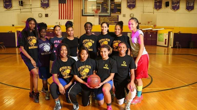 The Central Islip varsity girls basketball team