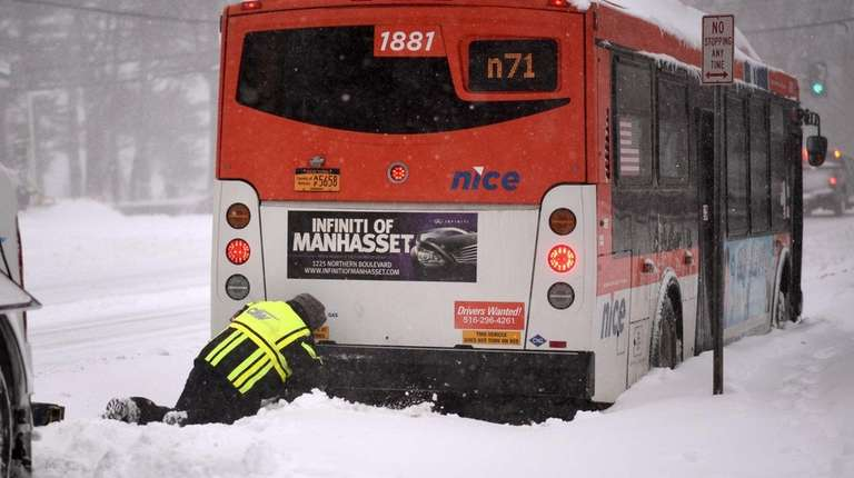 A stranded NICE bus is aided by a