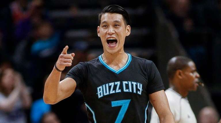Charlotte Hornets guard Jeremy Lin reacts after
