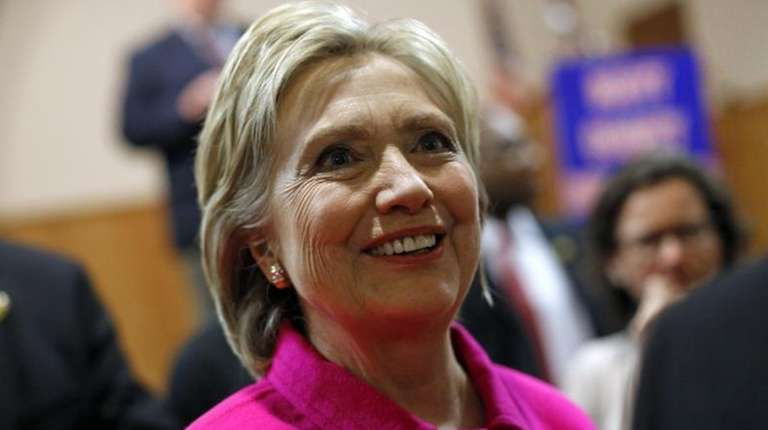 Democratic presidential candidate Hillary Clinton greets attendees after