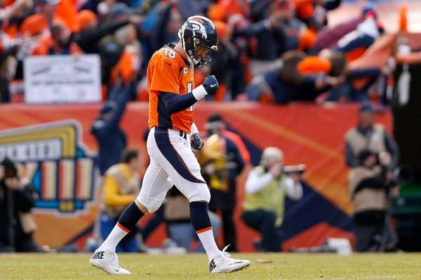 Peyton Manning of the Denver Broncos celebrates after