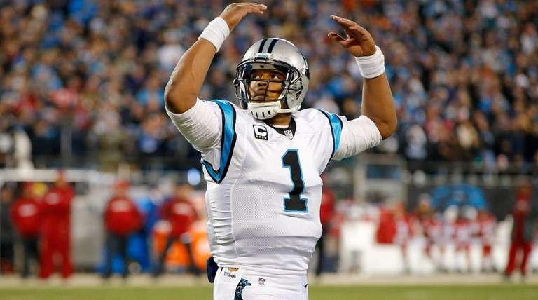 Cam Newton of the Carolina Panthers reacts in