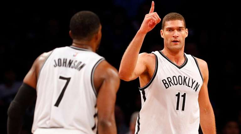 Brook Lopez of the Brooklyn Nets reacts