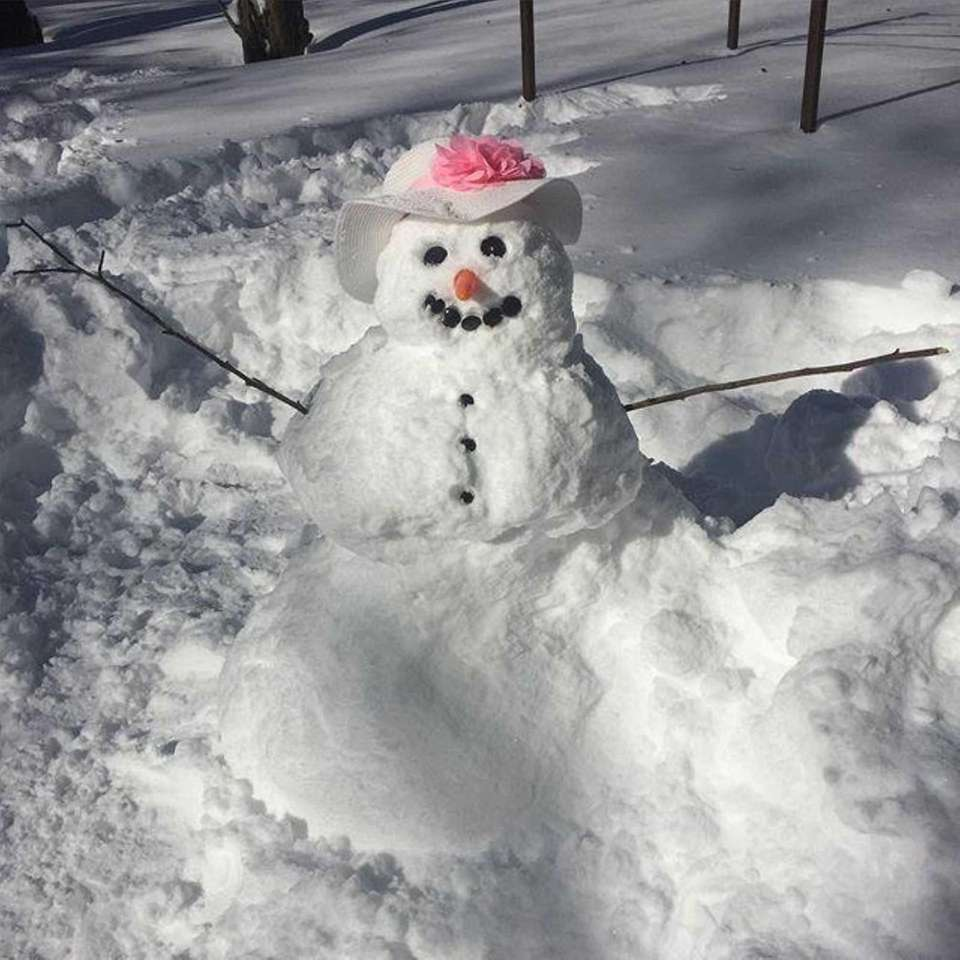 Our very fancy snowlady!! #fabulous #LIsnow #snowedin #snowman