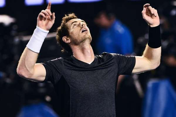 Andy Murray reacts after he defeated Bernard