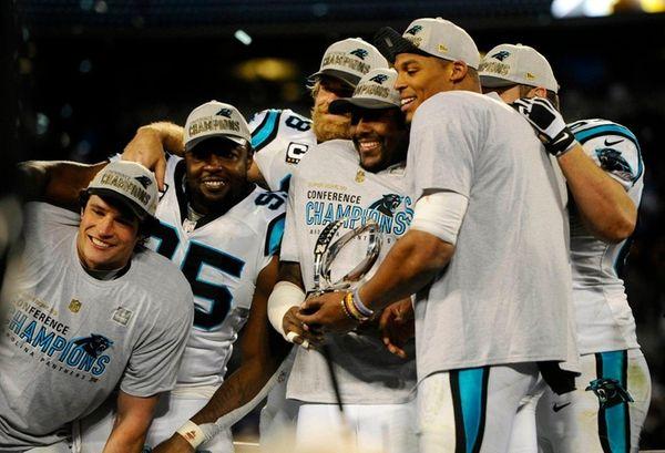 Members of the Carolina Panthers, including Luke Kuechly,
