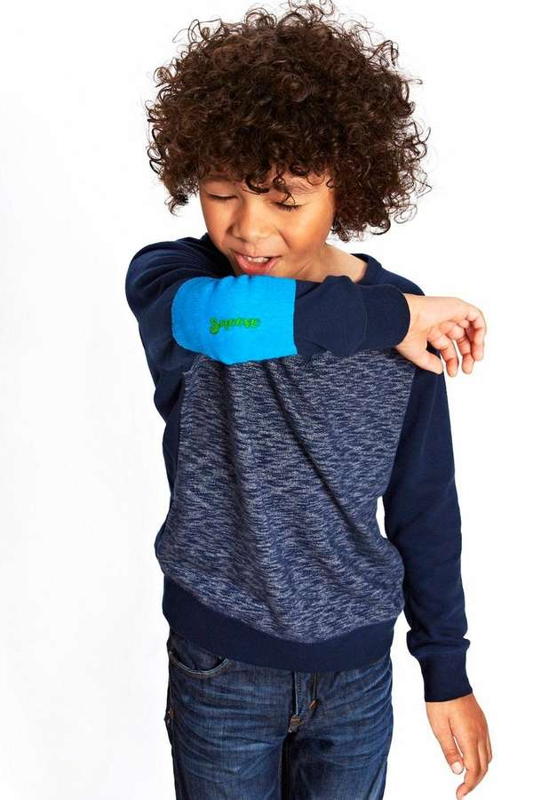 The Sneeve, a stretchy, blue, anti-microbial sleeve that