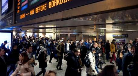 LIRR passengers, some heading for a train after