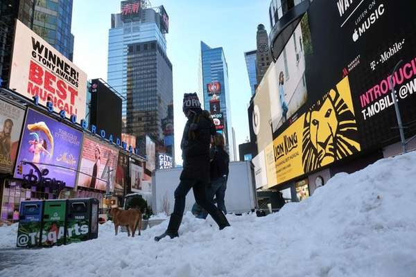 The winter storm canceled Broadway shows on Saturday,