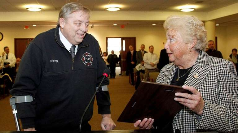 Retired FDNY firefighter Ray Pfeifer is honored by