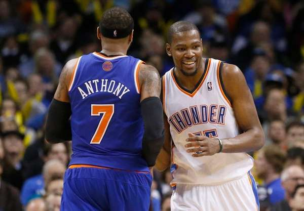Oklahoma City Thunder forward Kevin Durant laughs as