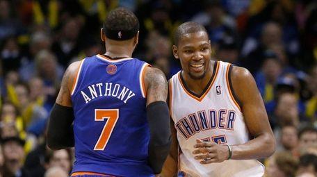 Oklahoma City Thunder forward Kevin Durant laughs as