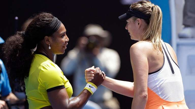 Serena Williams, left, is congratulated by Maria