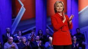 Democratic presidential candidate Hillary Clinton at a CNN
