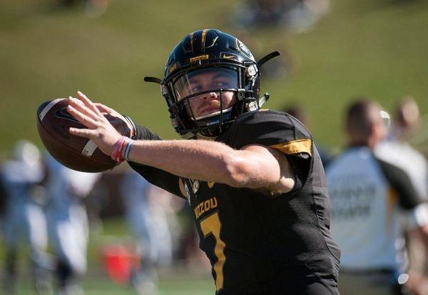 Missouri quarterback Maty Mauk warms up before