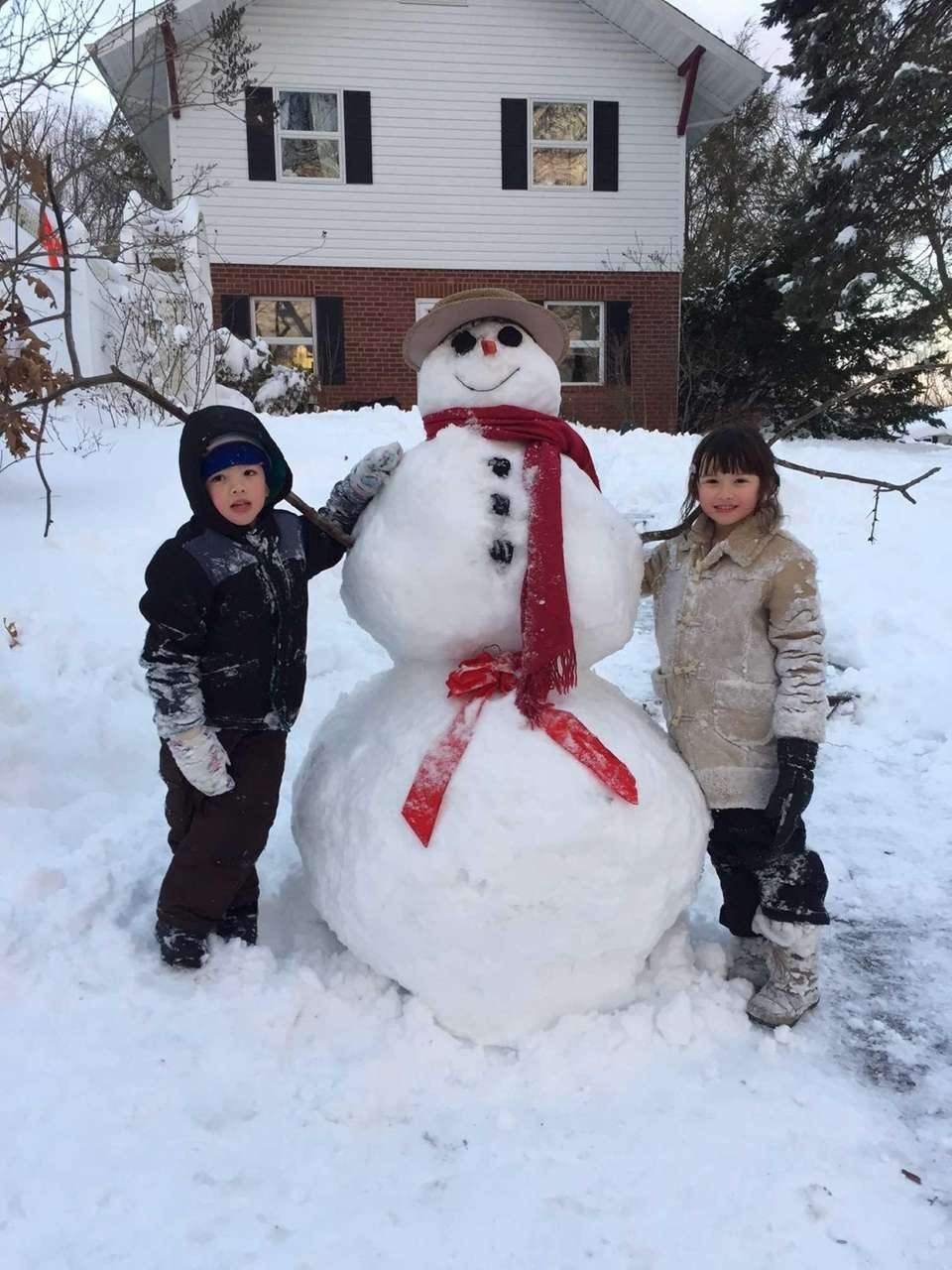 Snowman! Madison 7 and Sammy 5.