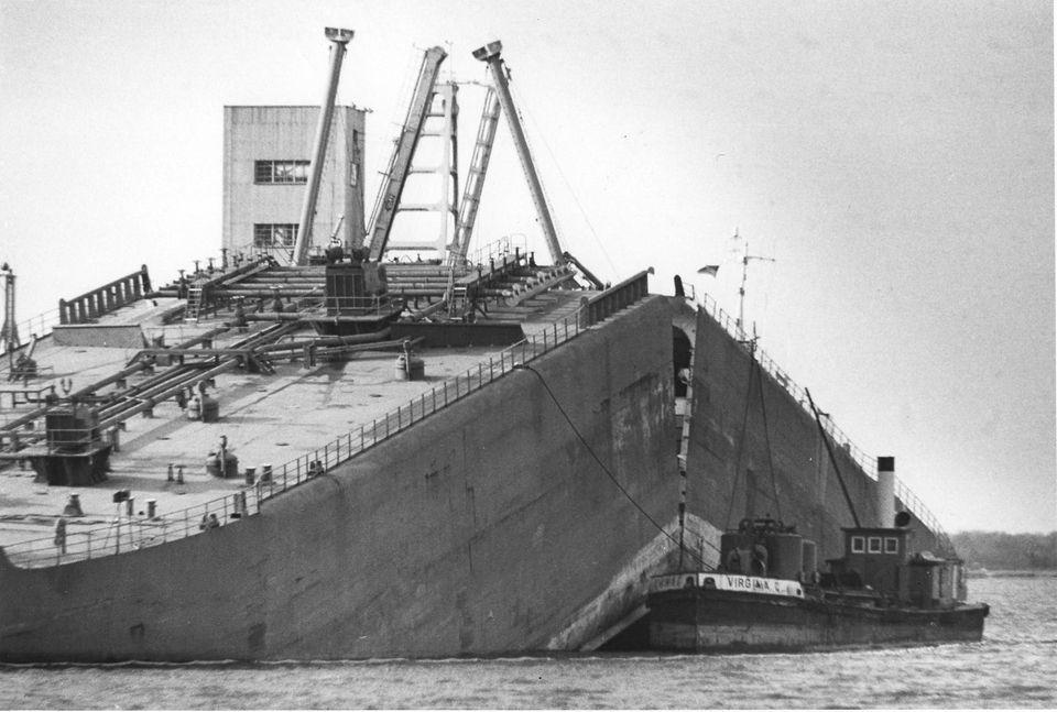 The tug-barge Martha R. Ingram split in half