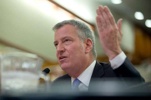 New York City Mayor Bill de Blasio testifies