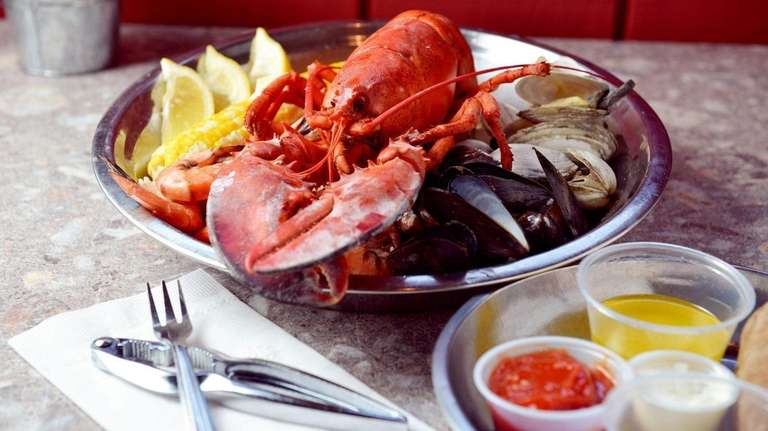 Buoy One's clambake includes a whole lobster, mussels,