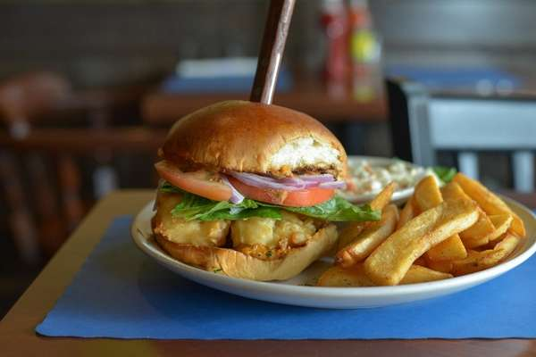 The shrimp po'boy sandwich brings the Cajun spice