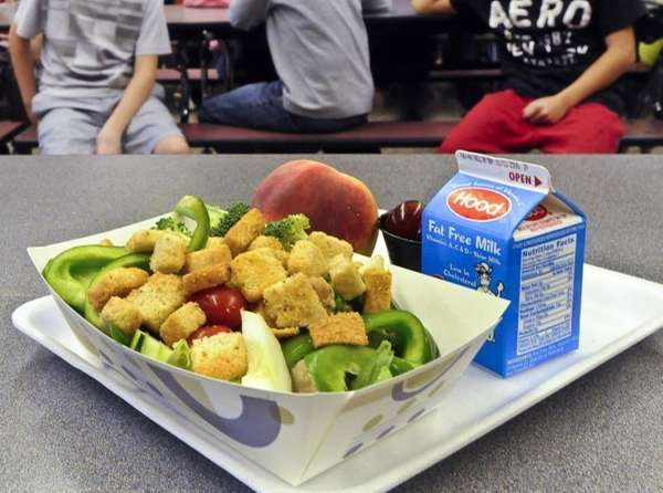 A healthy chicken salad school lunch, prepared under