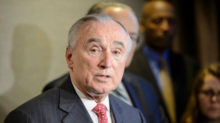 NYPD Commissioner William Bratton speaks Wednesday in Manhattan