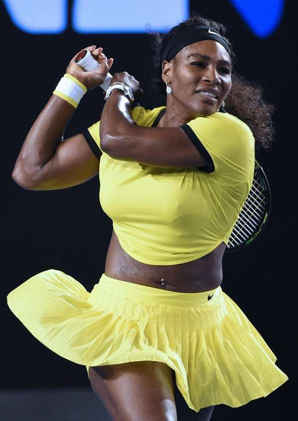 Serena Williams of the US plays a