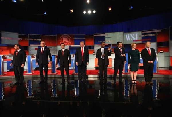 Left to right, Republican presidential candidates Ohio Gov.