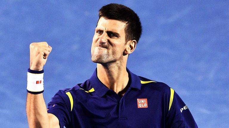 Novak Djokovic celebrates his win against Roger