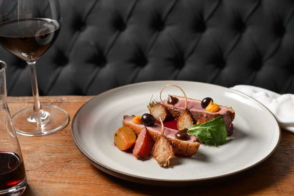 Hudson Valley duck breast with beets, turnips and