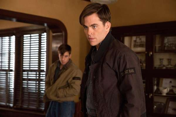 Chris Pine, right, plays a Coast Guard captain