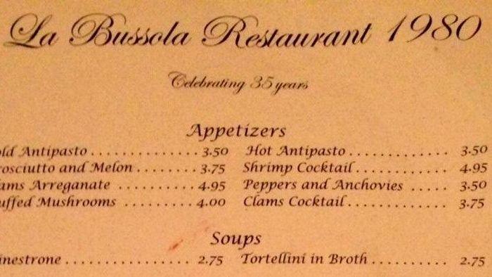 The 1980 menu at La Bussola in Glen