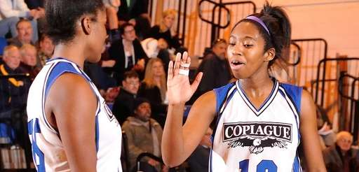 Mikaiya Moore of Copiague, right, and Nadiyah Khalil