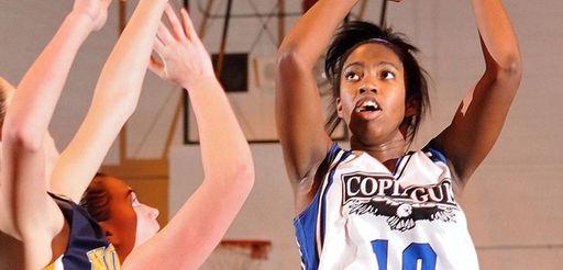 Mikaiya Moore of Copiague shoots a jumper during